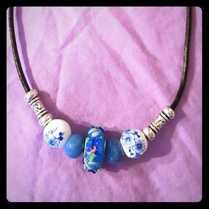 💙NWOT💙 Murano style glass charm necklace.